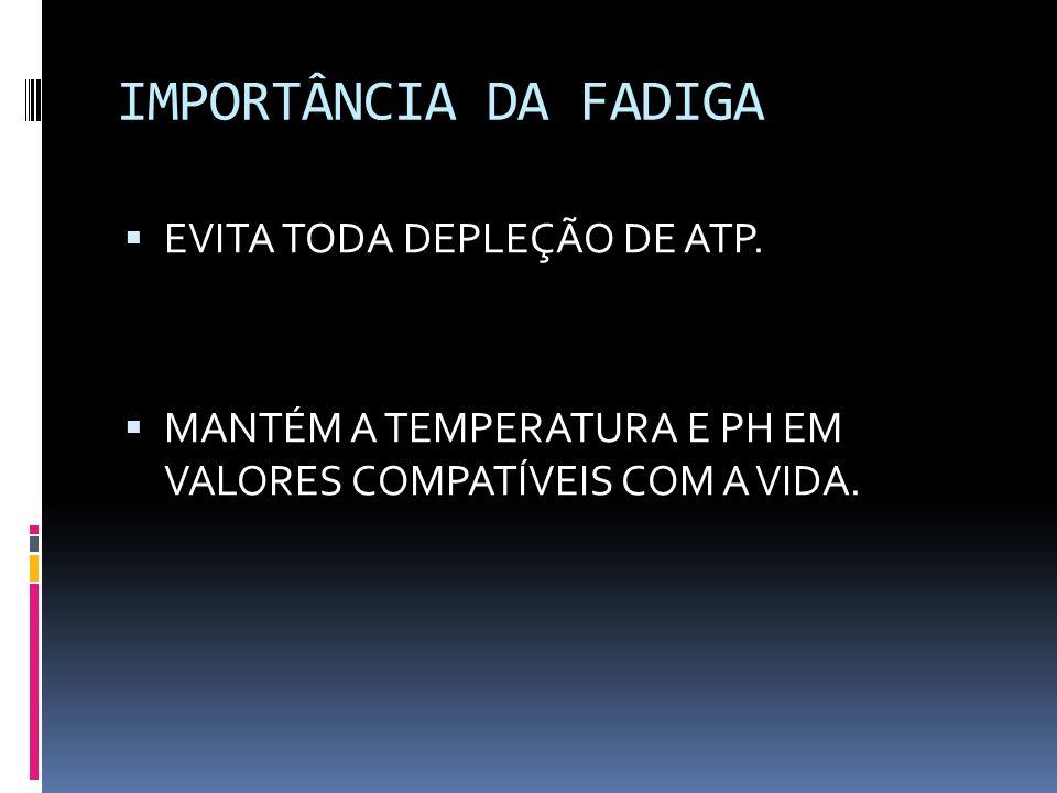 IMPORTÂNCIA DA FADIGA EVITA TODA DEPLEÇÃO DE ATP.