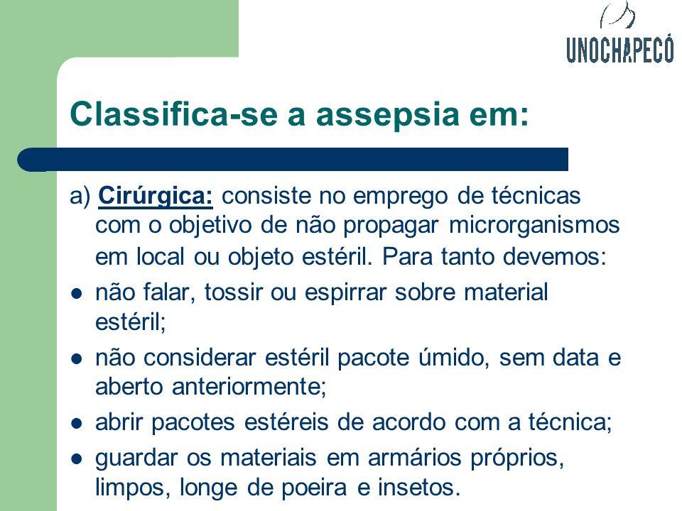 Classifica-se a assepsia em:
