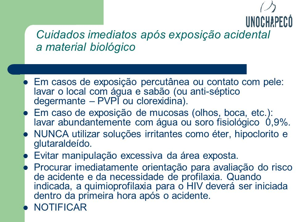 Cuidados imediatos após exposição acidental a material biológico