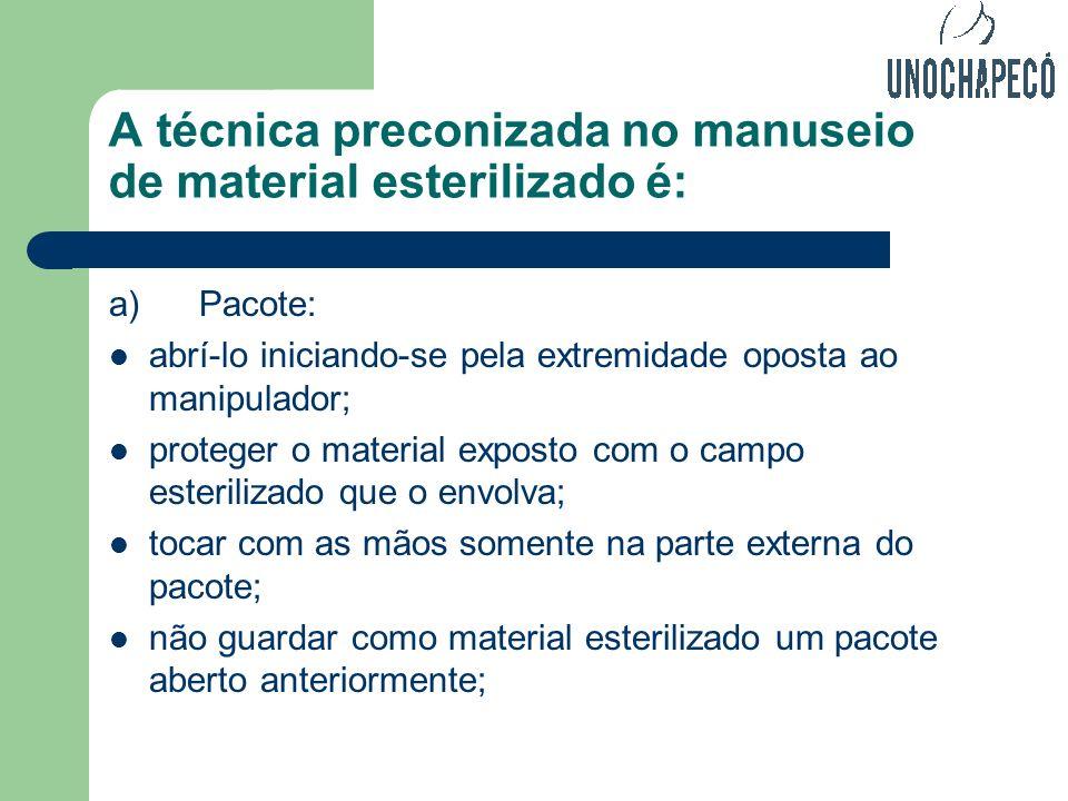 A técnica preconizada no manuseio de material esterilizado é: