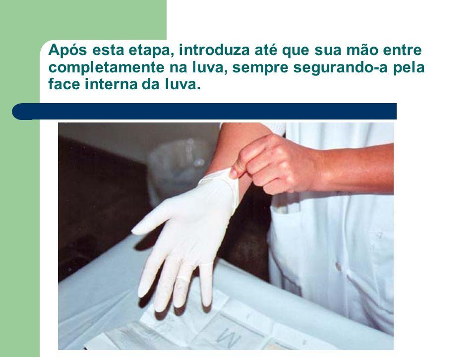 Após esta etapa, introduza até que sua mão entre completamente na luva, sempre segurando-a pela face interna da luva.