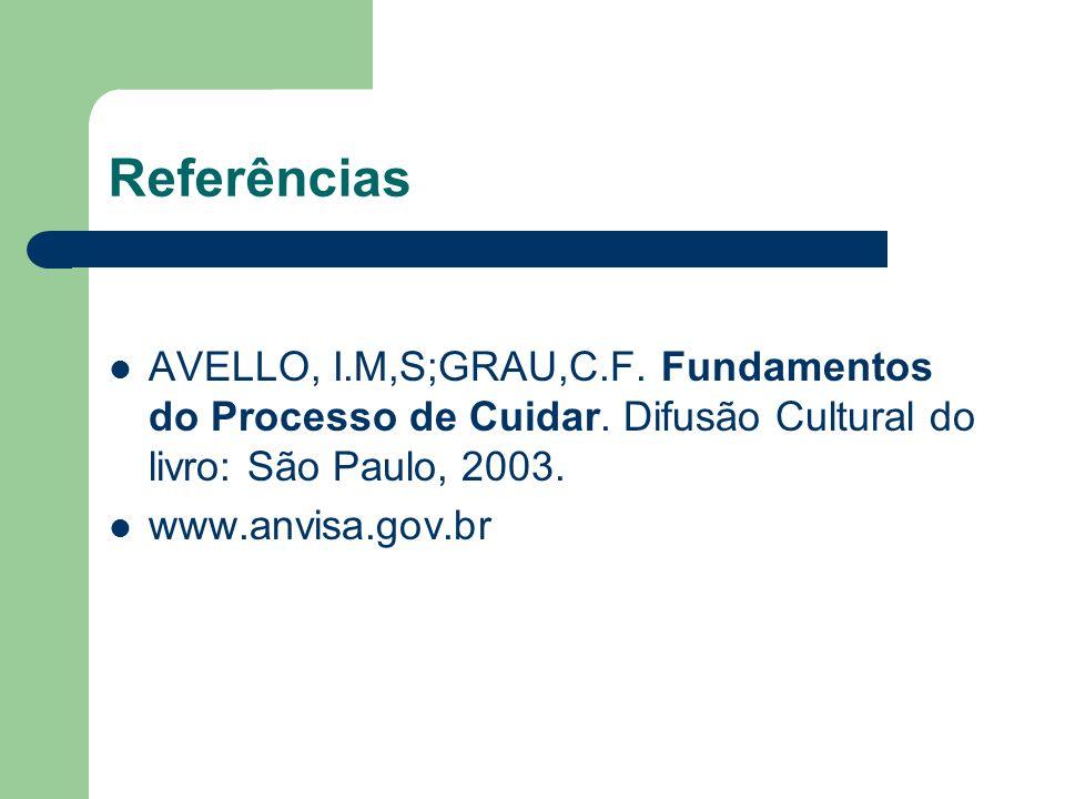 Referências AVELLO, I.M,S;GRAU,C.F. Fundamentos do Processo de Cuidar. Difusão Cultural do livro: São Paulo, 2003.