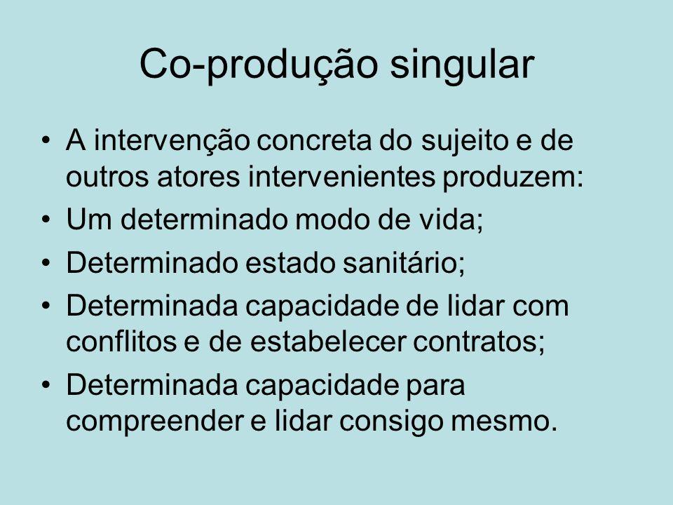 Co-produção singular A intervenção concreta do sujeito e de outros atores intervenientes produzem: Um determinado modo de vida;