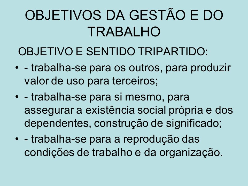 OBJETIVOS DA GESTÃO E DO TRABALHO