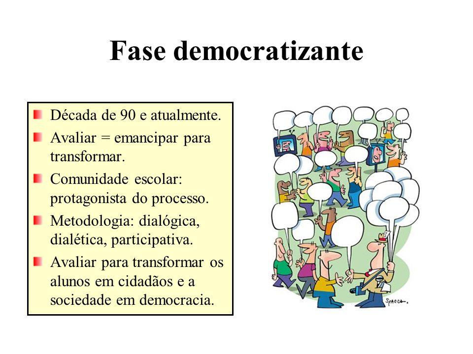 Fase democratizante Década de 90 e atualmente.