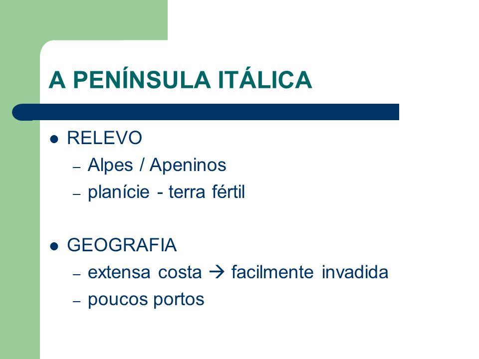 A PENÍNSULA ITÁLICA RELEVO Alpes / Apeninos planície - terra fértil