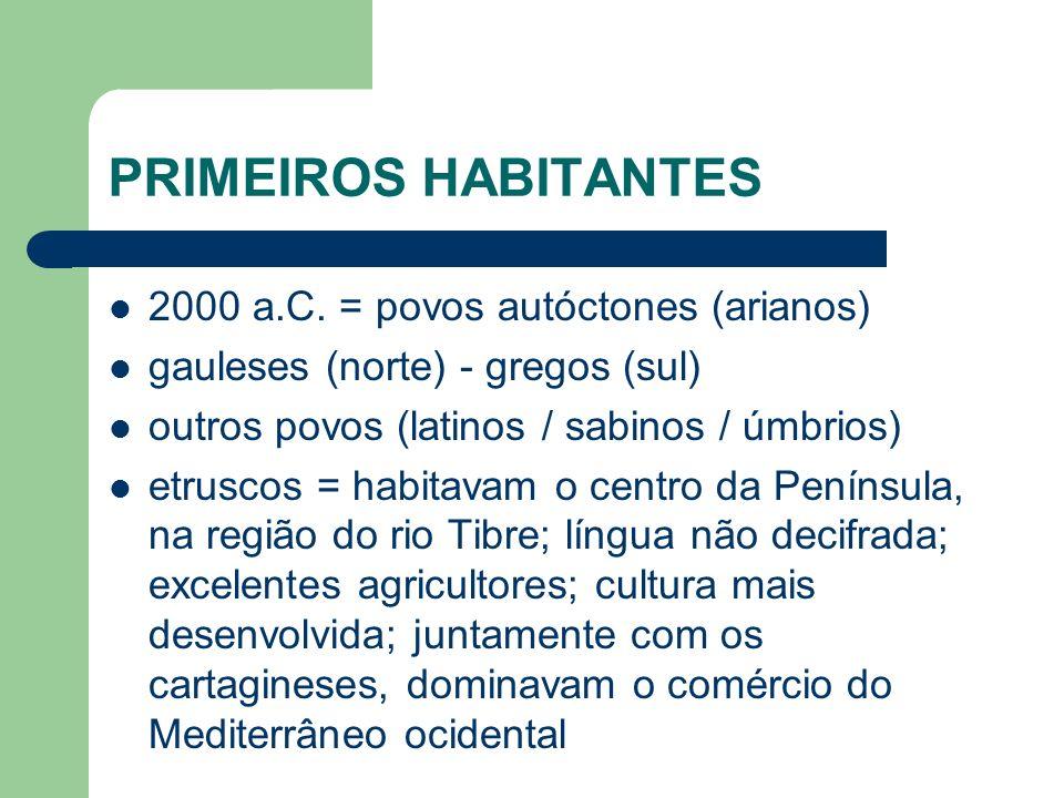 PRIMEIROS HABITANTES 2000 a.C. = povos autóctones (arianos)