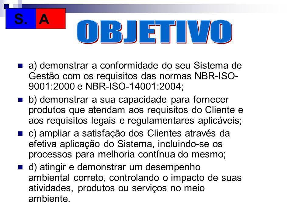 S. A. OBJETIVO. a) demonstrar a conformidade do seu Sistema de Gestão com os requisitos das normas NBR-ISO-9001:2000 e NBR-ISO-14001:2004;