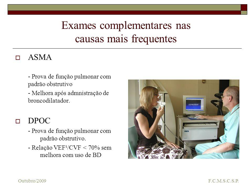Exames complementares nas causas mais frequentes