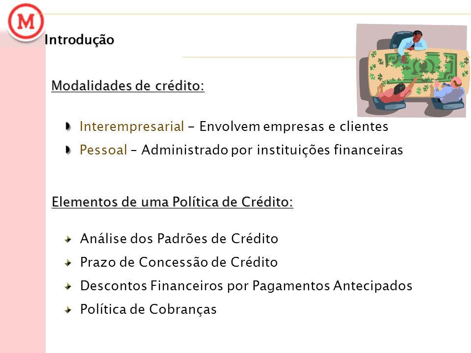 Introdução Modalidades de crédito: Interempresarial - Envolvem empresas e clientes. Pessoal – Administrado por instituições financeiras.