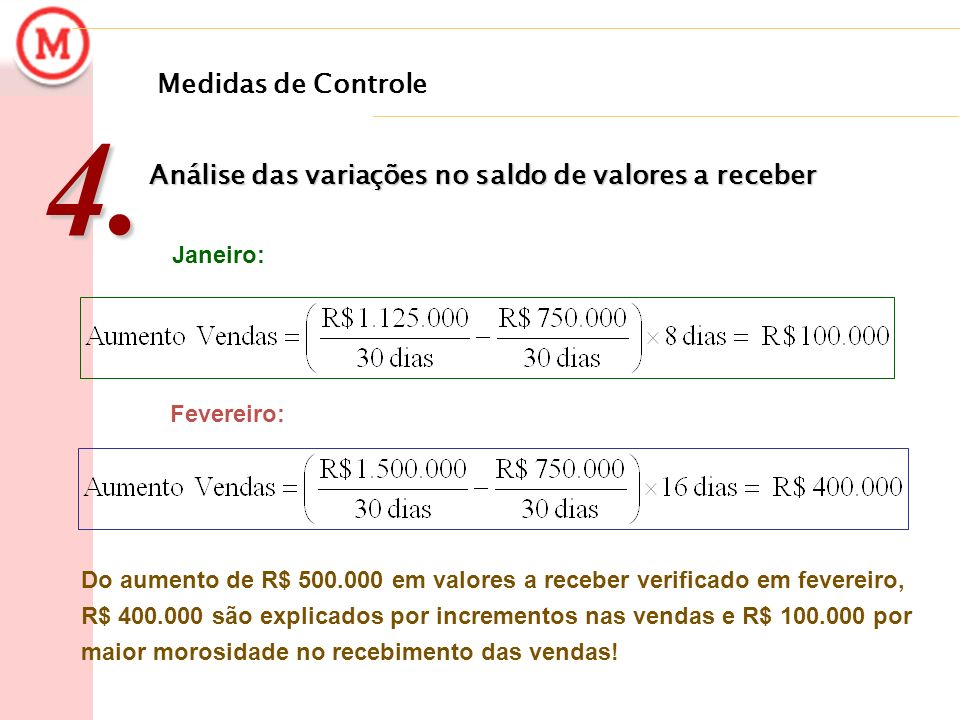 Medidas de Controle 4. Análise das variações no saldo de valores a receber. Janeiro: Fevereiro: