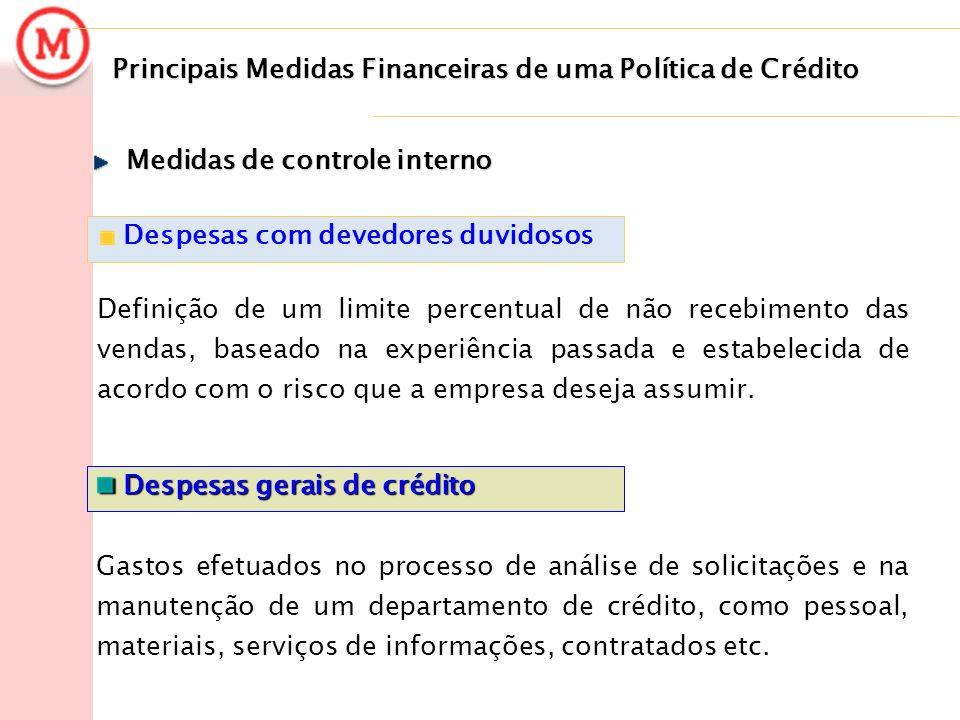 Principais Medidas Financeiras de uma Política de Crédito