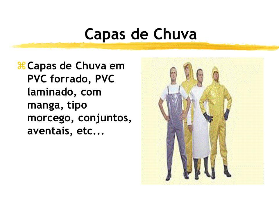 Capas de Chuva Capas de Chuva em PVC forrado, PVC laminado, com manga, tipo morcego, conjuntos, aventais, etc...