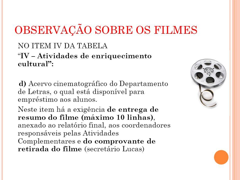 OBSERVAÇÃO SOBRE OS FILMES