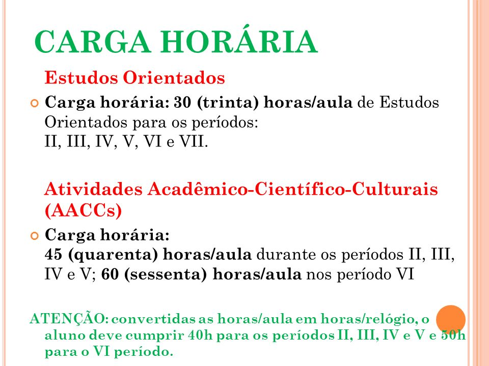 CARGA HORÁRIA Estudos Orientados