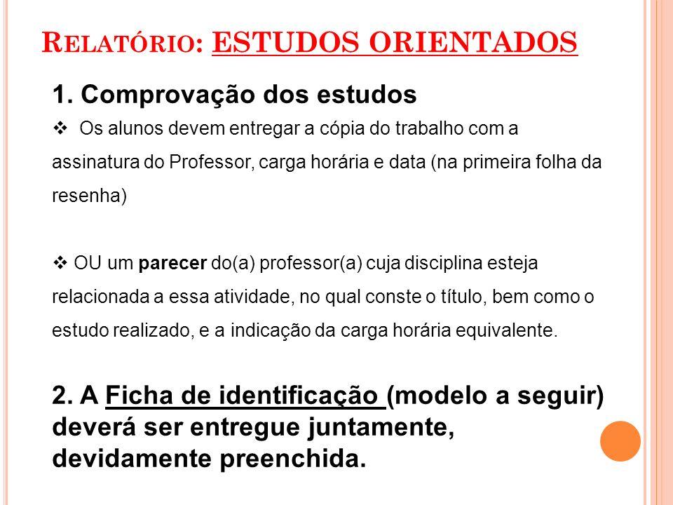 Relatório: ESTUDOS ORIENTADOS