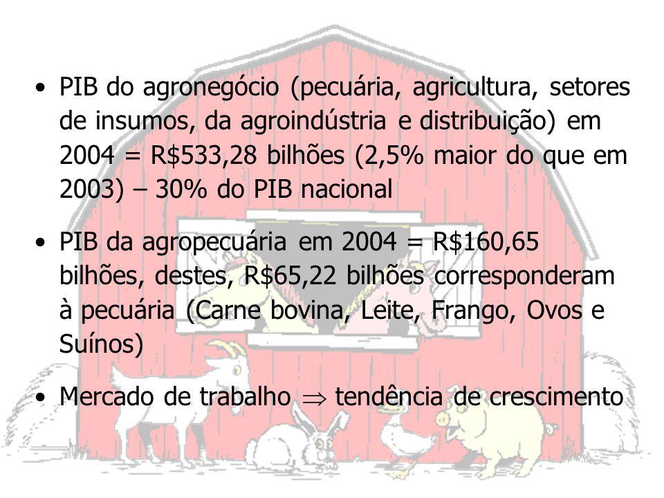 PIB do agronegócio (pecuária, agricultura, setores de insumos, da agroindústria e distribuição) em 2004 = R$533,28 bilhões (2,5% maior do que em 2003) – 30% do PIB nacional