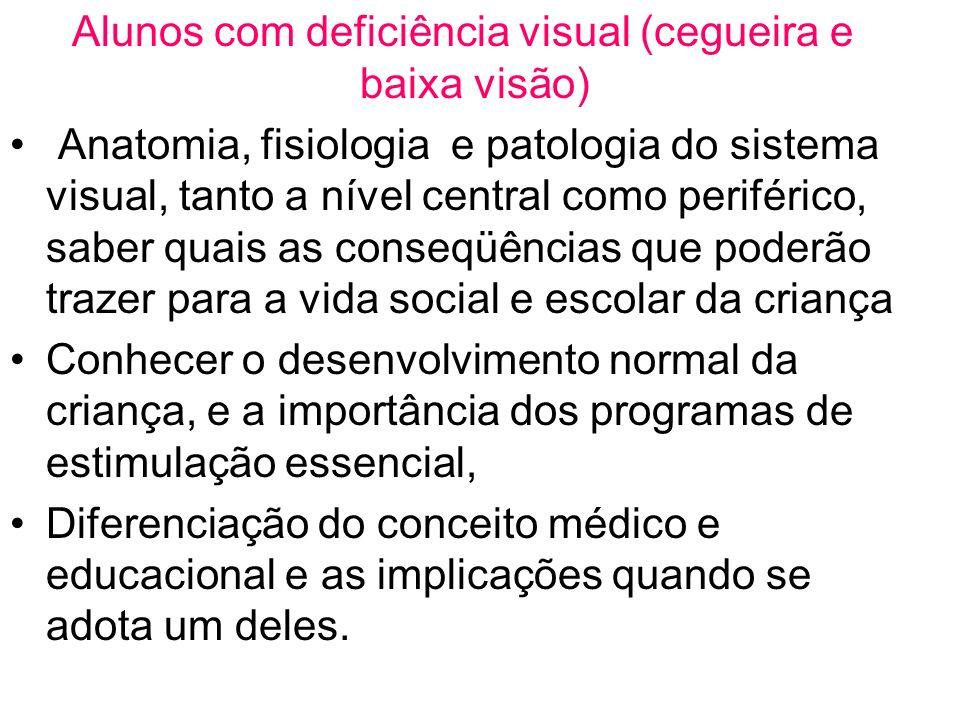 Alunos com deficiência visual (cegueira e baixa visão)