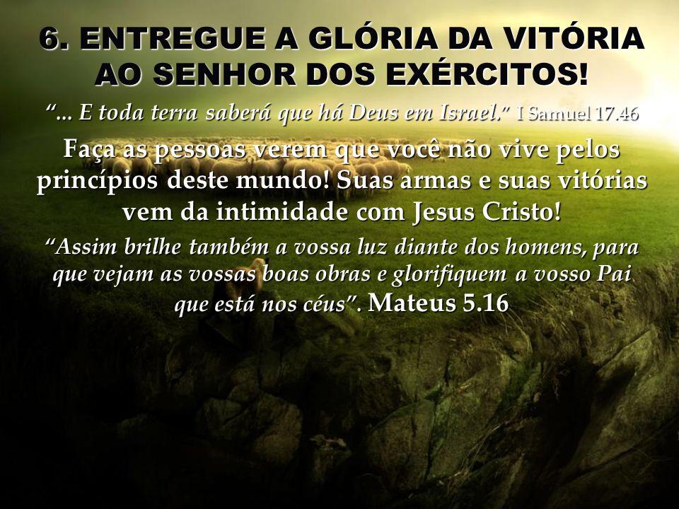 6. ENTREGUE A GLÓRIA DA VITÓRIA AO SENHOR DOS EXÉRCITOS!