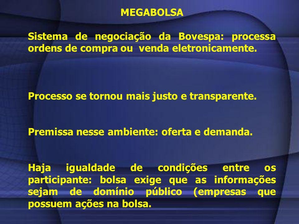 MEGABOLSA Sistema de negociação da Bovespa: processa ordens de compra ou venda eletronicamente. Processo se tornou mais justo e transparente.