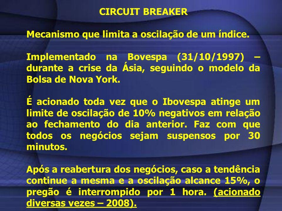 CIRCUIT BREAKERMecanismo que limita a oscilação de um índice.