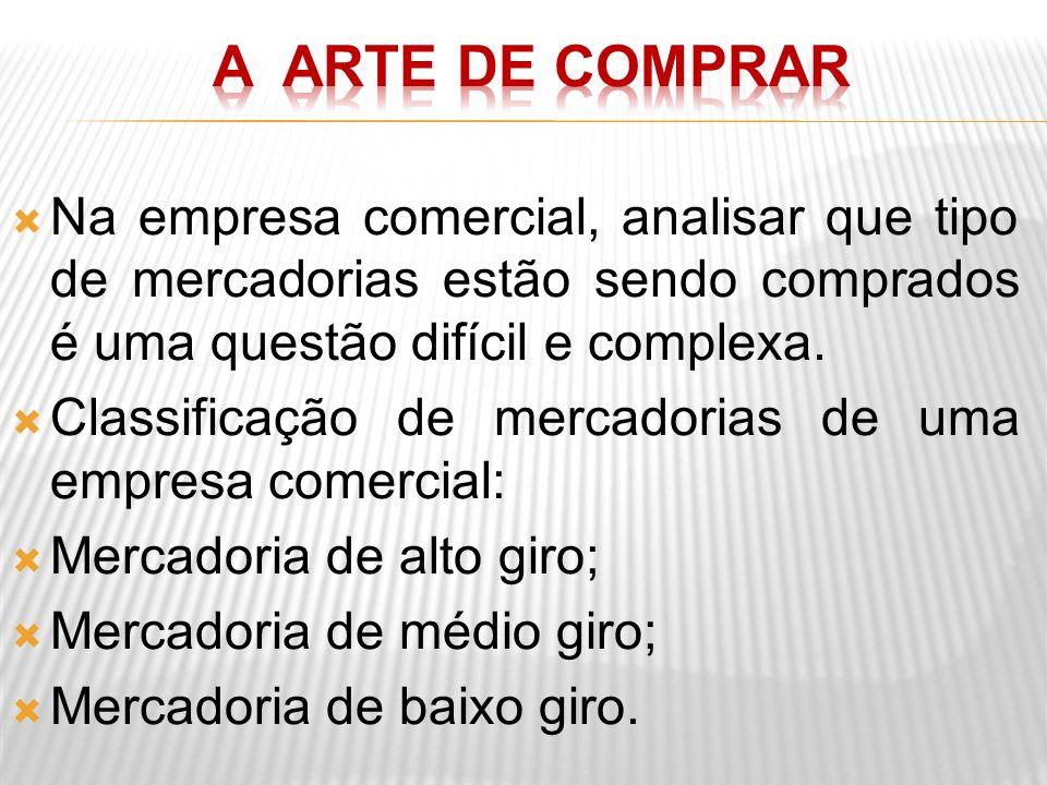 A ARTE DE COMPRAR Na empresa comercial, analisar que tipo de mercadorias estão sendo comprados é uma questão difícil e complexa.