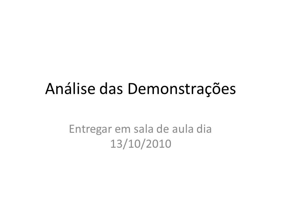 Análise das Demonstrações