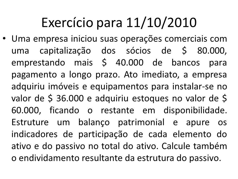 Exercício para 11/10/2010