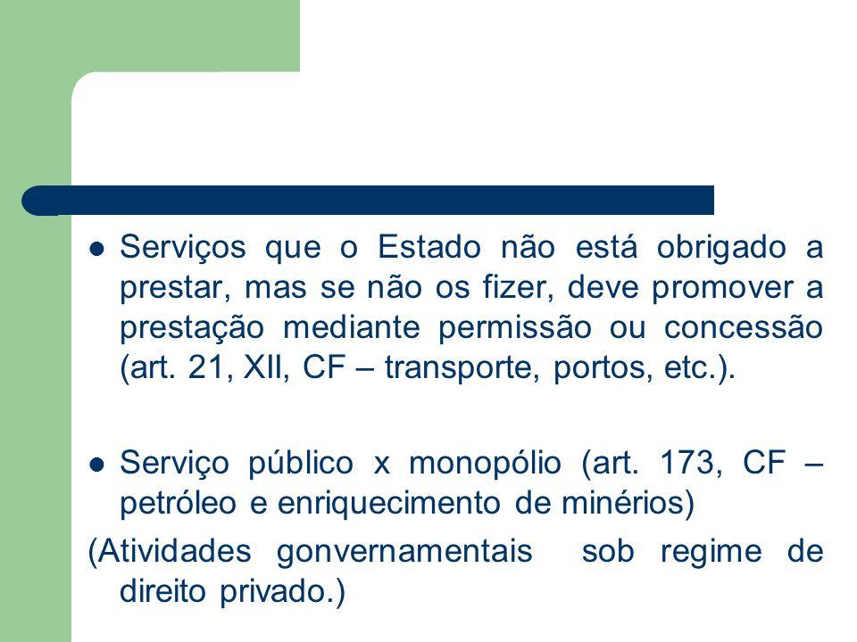 Serviços que o Estado não está obrigado a prestar, mas se não os fizer, deve promover a prestação mediante permissão ou concessão (art. 21, XII, CF – transporte, portos, etc.).