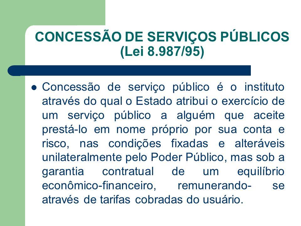 CONCESSÃO DE SERVIÇOS PÚBLICOS (Lei 8.987/95)