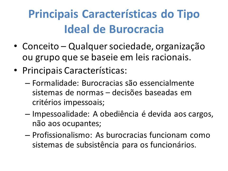 Principais Características do Tipo Ideal de Burocracia