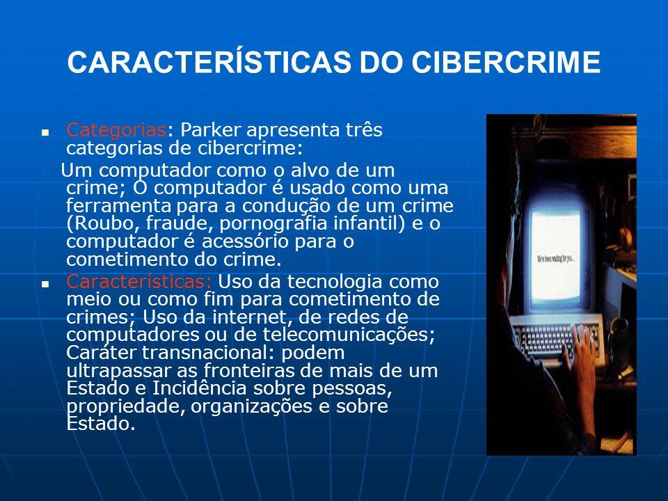 CARACTERÍSTICAS DO CIBERCRIME