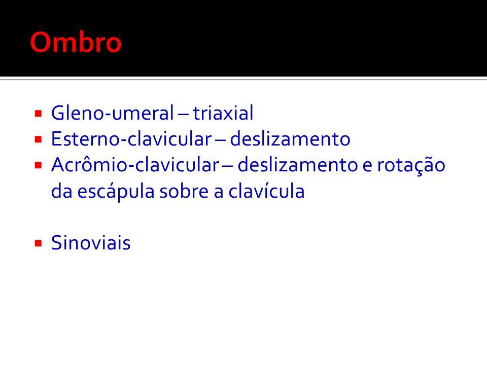 Ombro Gleno-umeral – triaxial Esterno-clavicular – deslizamento