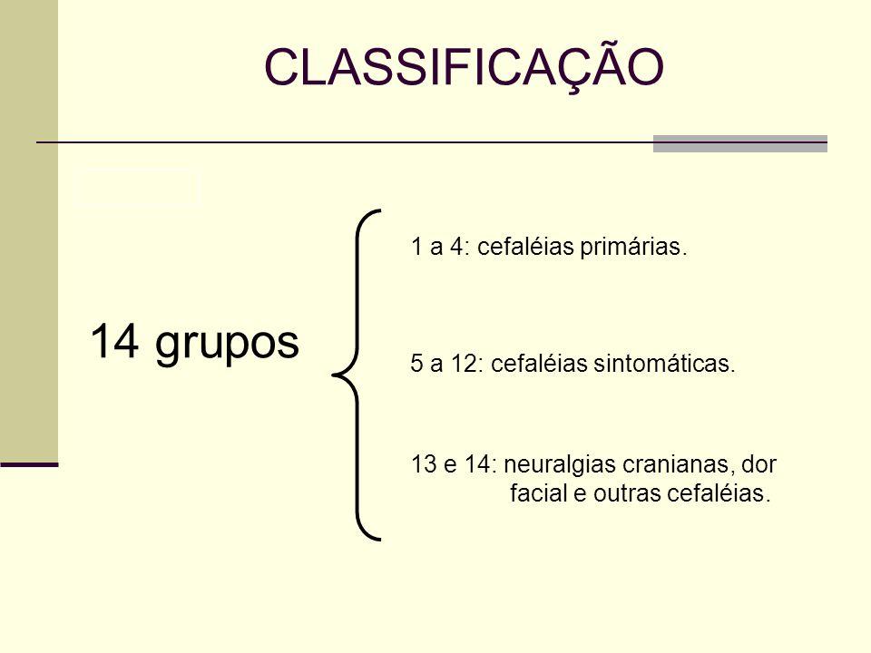 CLASSIFICAÇÃO 14 grupos 1 a 4: cefaléias primárias.