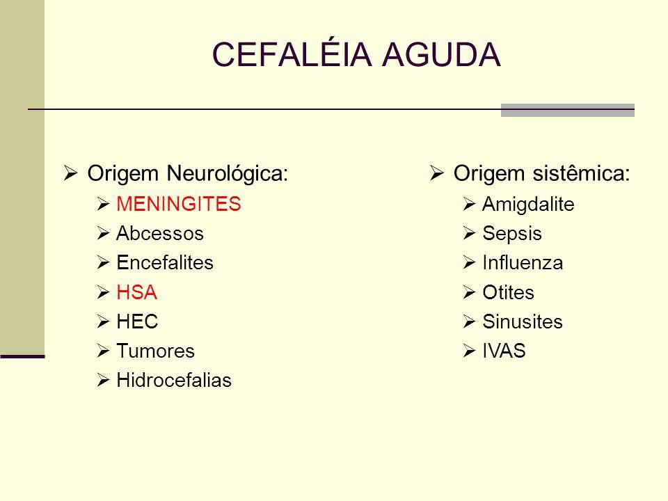 CEFALÉIA AGUDA Origem Neurológica: Origem sistêmica: MENINGITES