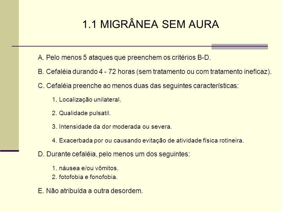 1.1 MIGRÂNEA SEM AURA A. Pelo menos 5 ataques que preenchem os critérios B-D.