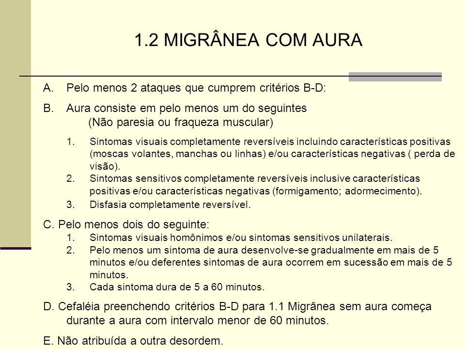 1.2 MIGRÂNEA COM AURA Pelo menos 2 ataques que cumprem critérios B-D: