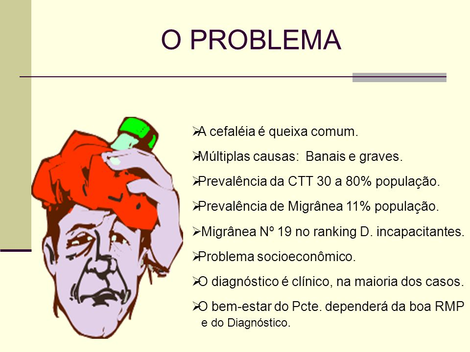 O PROBLEMA A cefaléia é queixa comum.