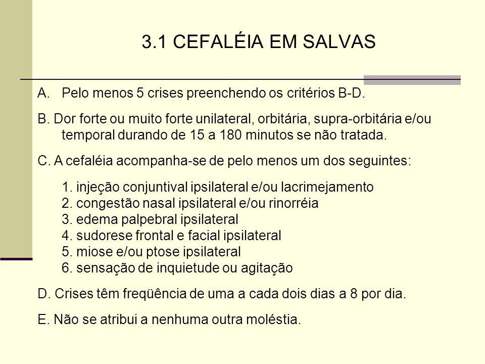 3.1 CEFALÉIA EM SALVAS Pelo menos 5 crises preenchendo os critérios B-D.