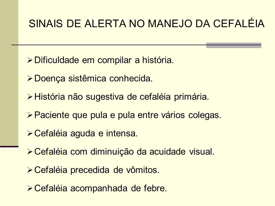 SINAIS DE ALERTA NO MANEJO DA CEFALÉIA