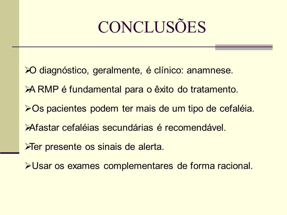 CONCLUSÕES O diagnóstico, geralmente, é clínico: anamnese.