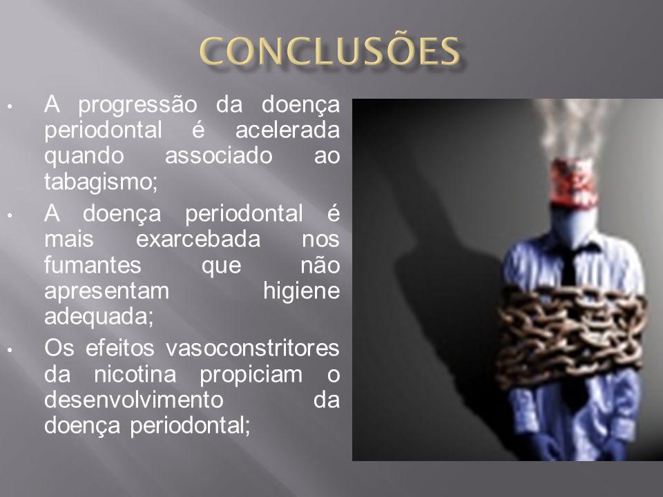 conclusões A progressão da doença periodontal é acelerada quando associado ao tabagismo;