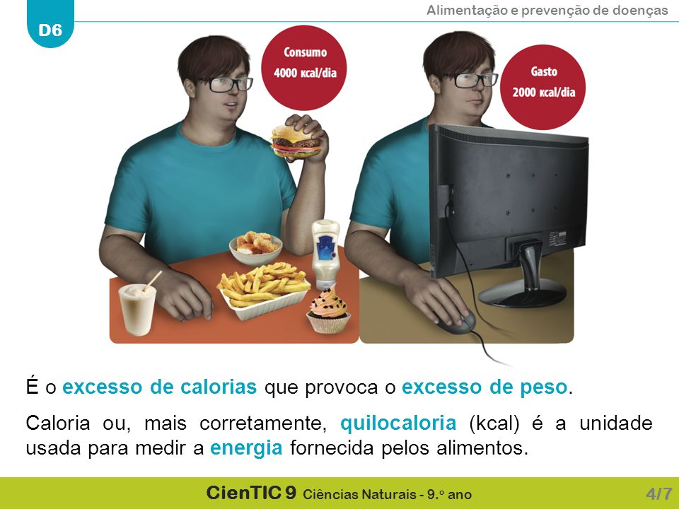 É o excesso de calorias que provoca o excesso de peso.