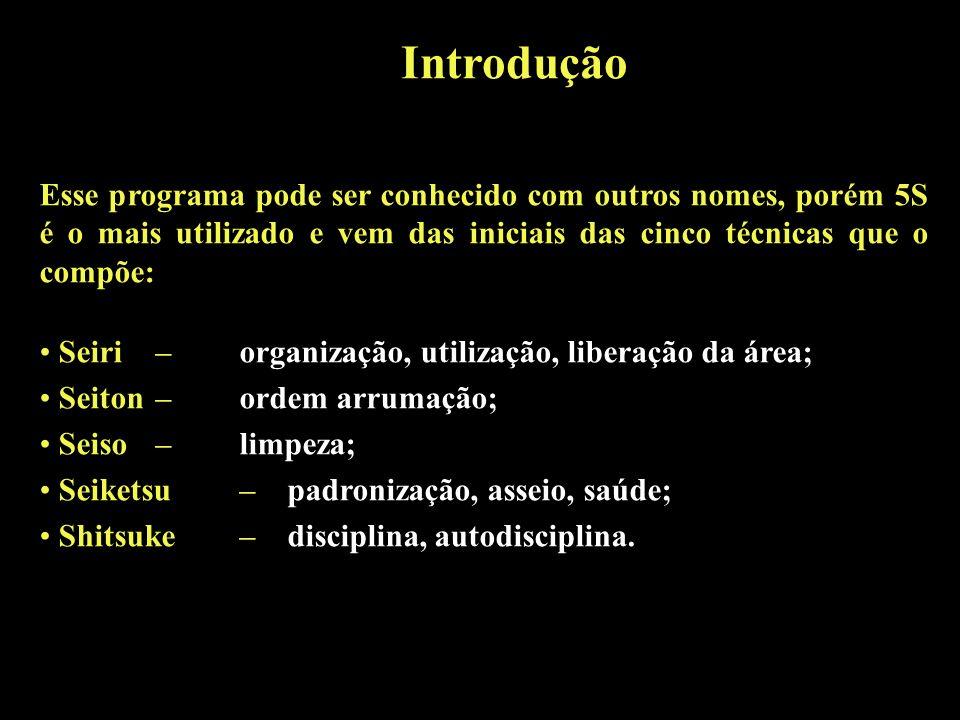 IntroduçãoEsse programa pode ser conhecido com outros nomes, porém 5S é o mais utilizado e vem das iniciais das cinco técnicas que o compõe: