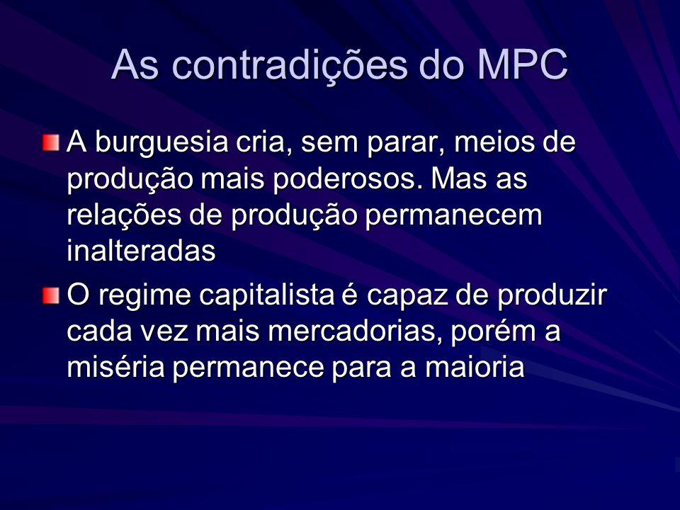 As contradições do MPC A burguesia cria, sem parar, meios de produção mais poderosos. Mas as relações de produção permanecem inalteradas.