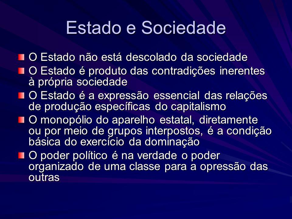 Estado e Sociedade O Estado não está descolado da sociedade