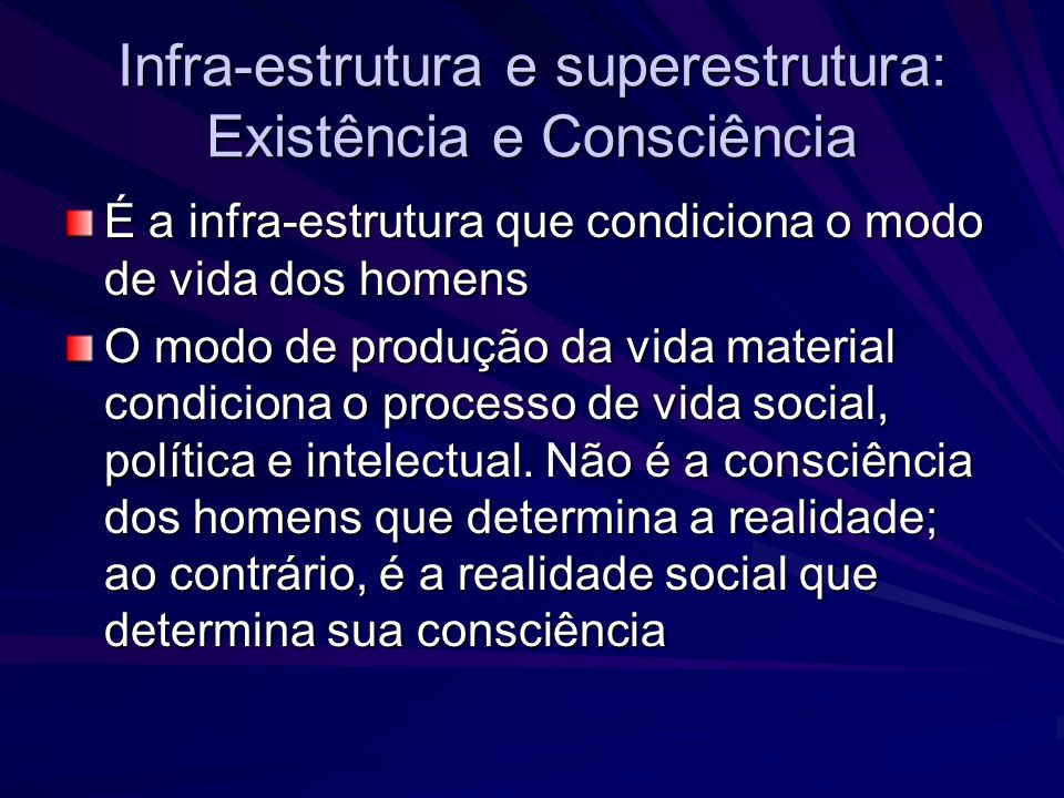 Infra-estrutura e superestrutura: Existência e Consciência