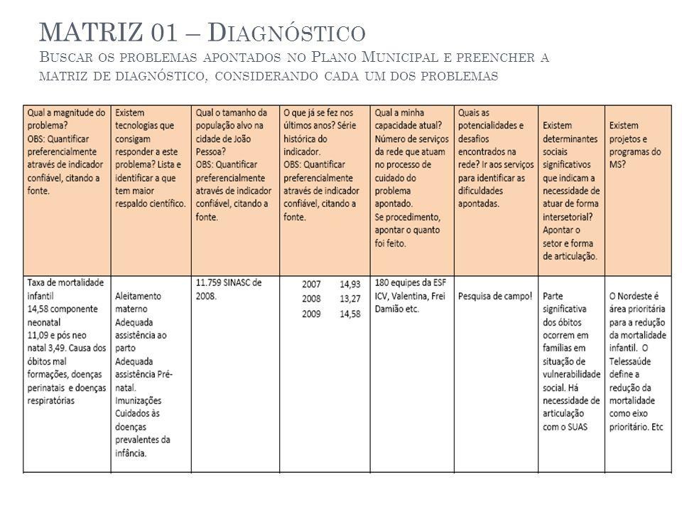 MATRIZ 01 – Diagnóstico Buscar os problemas apontados no Plano Municipal e preencher a matriz de diagnóstico, considerando cada um dos problemas