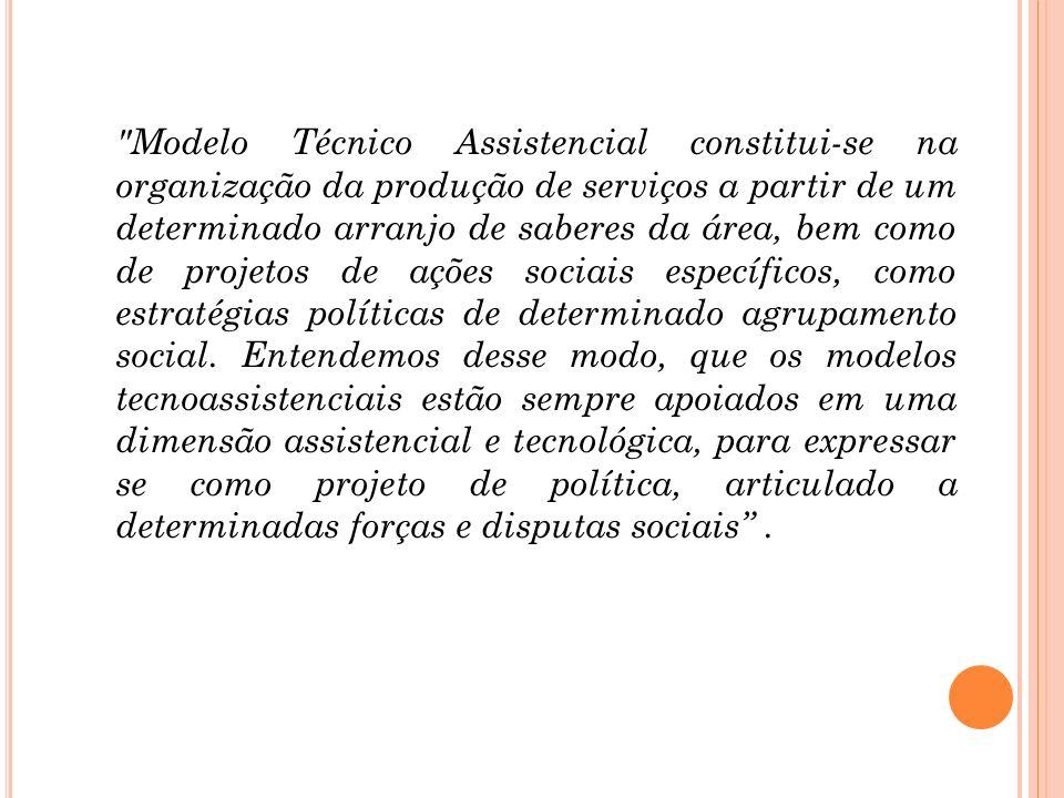 Modelo Técnico Assistencial constitui-se na organização da produção de serviços a partir de um determinado arranjo de saberes da área, bem como de projetos de ações sociais específicos, como estratégias políticas de determinado agrupamento social.
