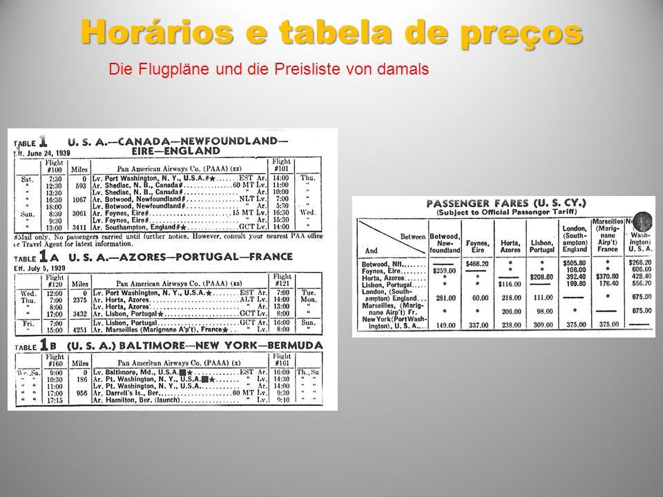 Horários e tabela de preços